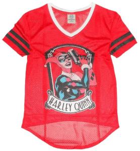 Harley Quinn Mesh V-Neck Jersey T-Shirt