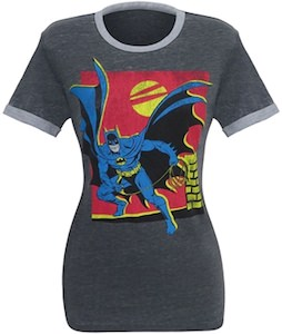 Women's Batman At Night Ringer T-Shirt