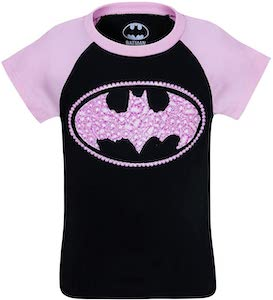 Pink And Glittery Batman Kids t-shirt