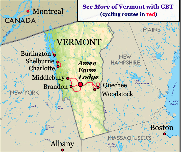 Vermont Bicycle Tour Map Greatbiketourscomgreatbiketourscom - Vermont map