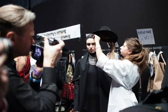 Annewil backstage at fashion week. Copyright: Bart Jansen and Maxime Cardol