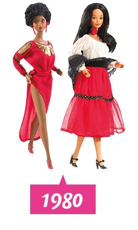 In 1980 brengt Barbie een Afro-Amerikaanse en Spaanse Barbie op de markt.