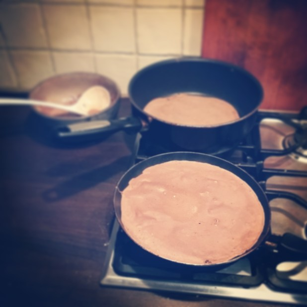 Baking buckwheat pancakes to take with me in the train