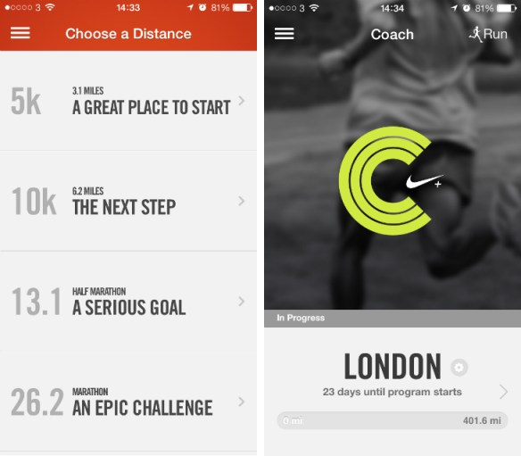 Nike+ Running app with training schedules
