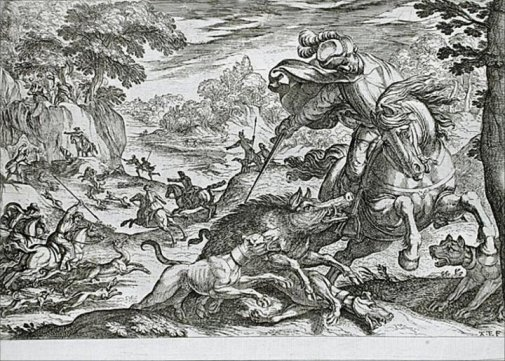 Boar-hunting by Antonio Tempesta, 1609