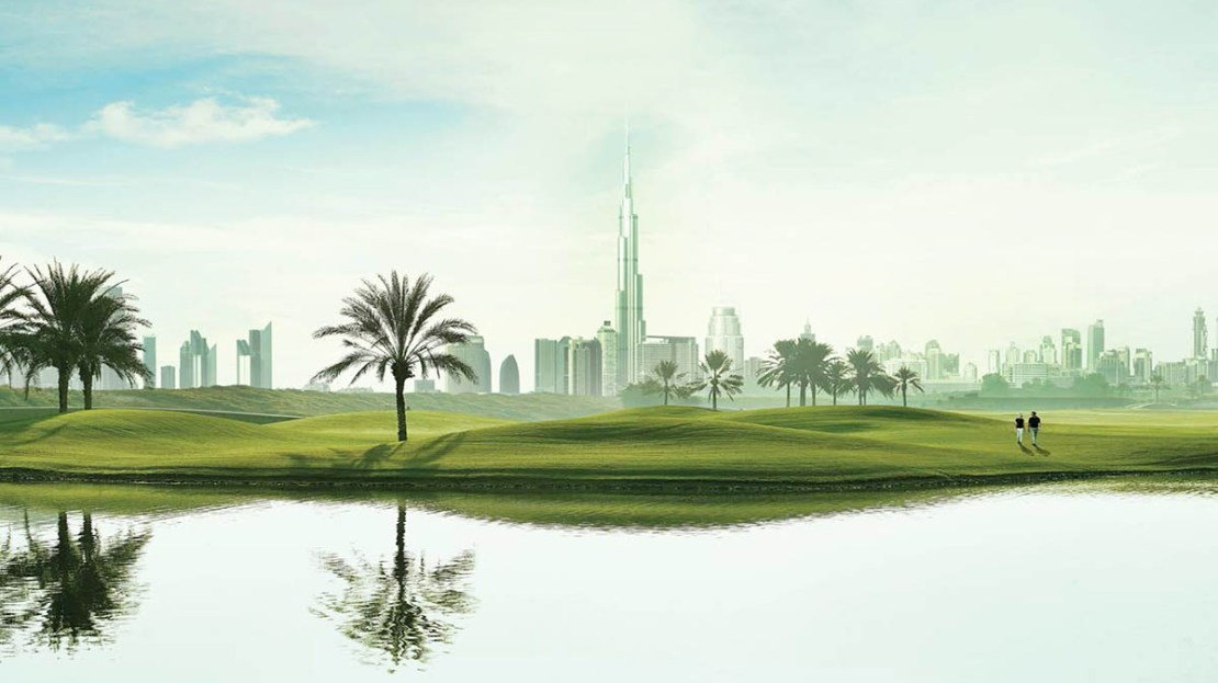 burj khalifa view from golf course dubai
