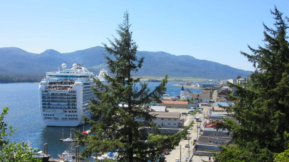 A massive cruise ship at Ketchikan's dock