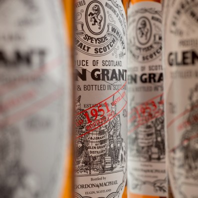 Glen Grant Collection Bottles close up