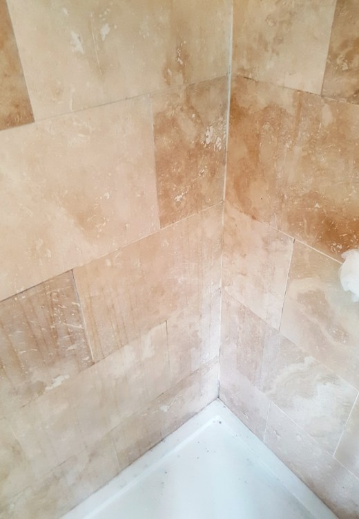 Travertine Shower Before Cleaning Newton Heath