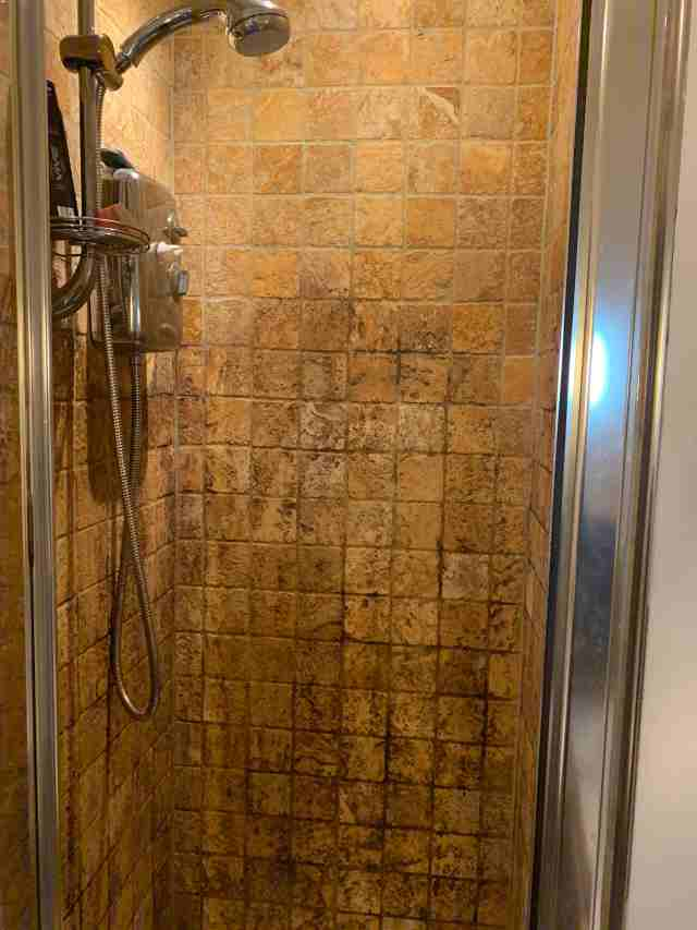 Tumbled Travertine Shower Cubicle During Cleaning East Didsbury