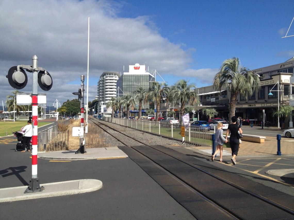 The train line runs right through the Tauranga CBD...