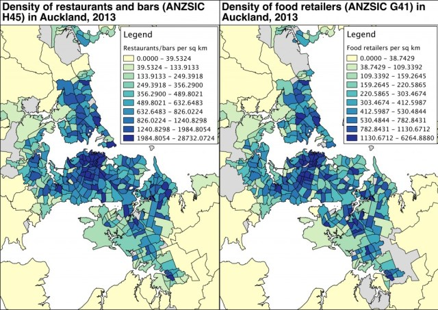 Auckland restaurant and food retail density maps v1