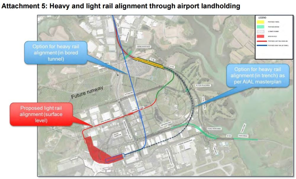 Light-Heavy rail to Aiport - airport alignment options