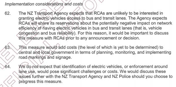 EVs in Bus Lanes OIA - Considerations