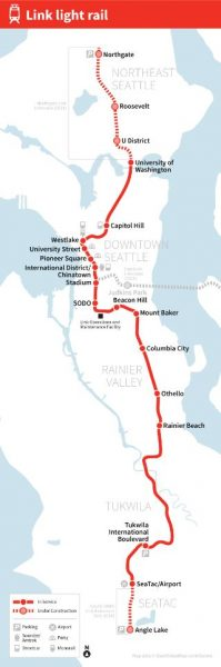 Seattle Link Light Rail Map