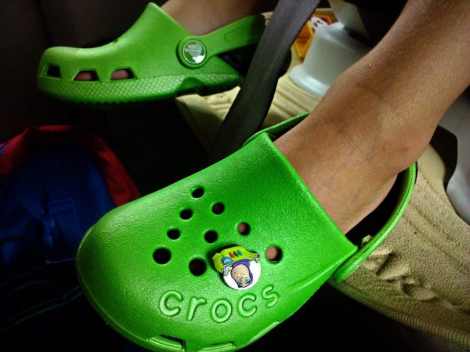 Green Crocs with Buzzlightyear Jibbitz