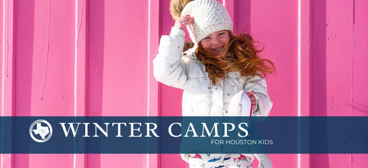 Houston Winter Camp for Kids featured image with title and red-haired girl smiling in front of a pink wall