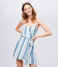 LOFT BEACH STRIPED WRAP DRESS