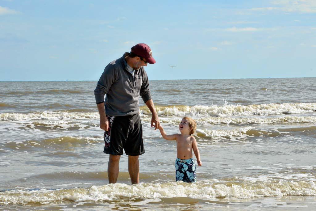 Boy and Dad at Galveston Beach