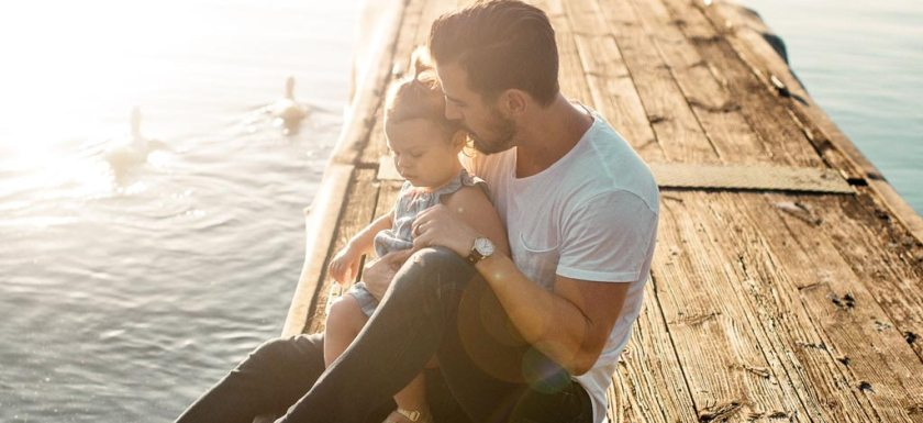 Dad and Daughter on a Pier