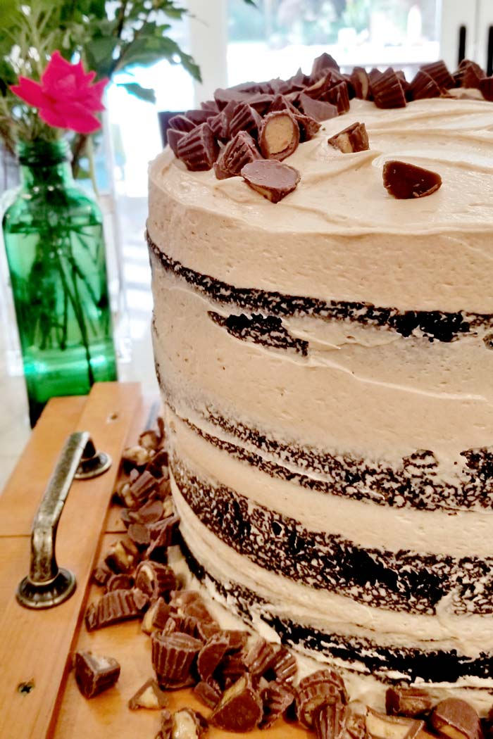 Sky High Chocolate Peanut Butter Whiskey Layer Cake