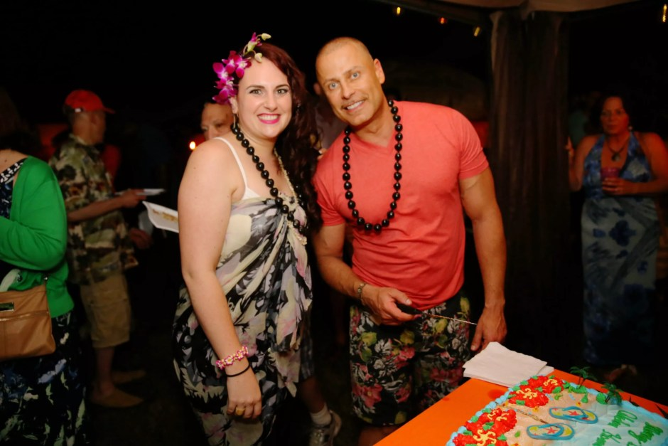 Celadon Home Boutique owner Giovanni Naso and design assistant Sharon Munson at the shop's grand opening luau last month in Bellport Village. (Credit: Ming Photography)