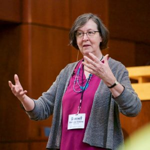 Bishop Elaine Stanovsky engaging in a conversation with leaders in the PNW Conference on October 1. Photo by Rev. DJ del Rosario.