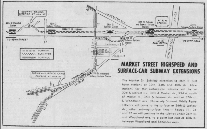 Market Street Highspeed and Surface-Car Subway Extensions - 1955 Philadelphia Inquirer
