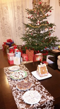 The sweets table, complete with gingerbread house
