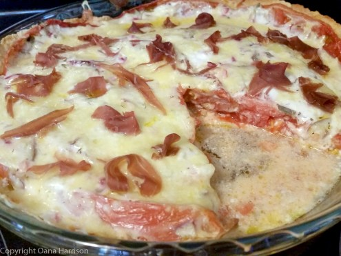 Tomato pie with prosciutto