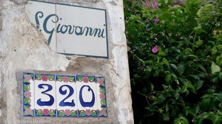 Giovanni tile street sign Positano