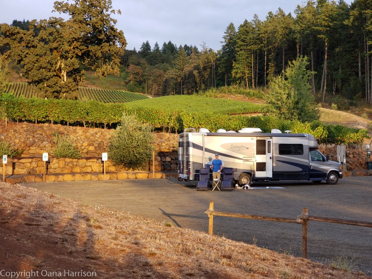 Eola Hills Legacy Winery Salem Oregon parked RV by the vines