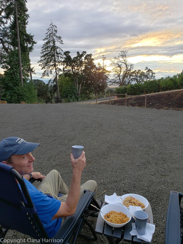 Eola Hills Legacy Winery Salem Oregon David enjoying dinner outside the RV