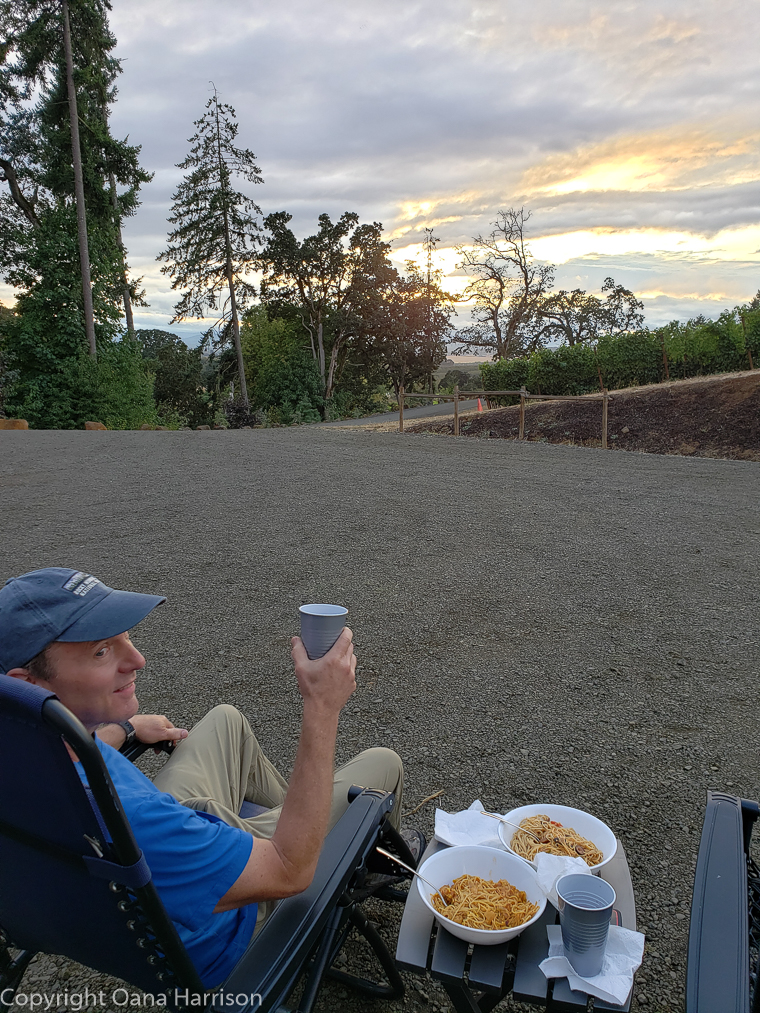 Eola Hills Legacy Winery Salem Oregon David enjoying dinner outside the RV