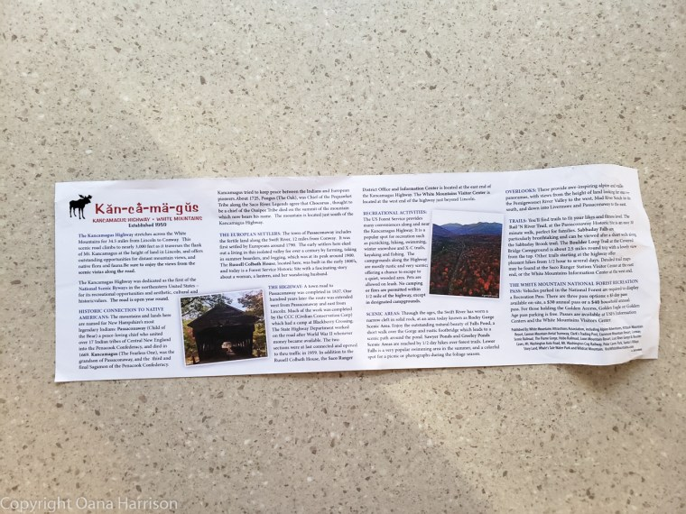 Kancamagus informational brochure