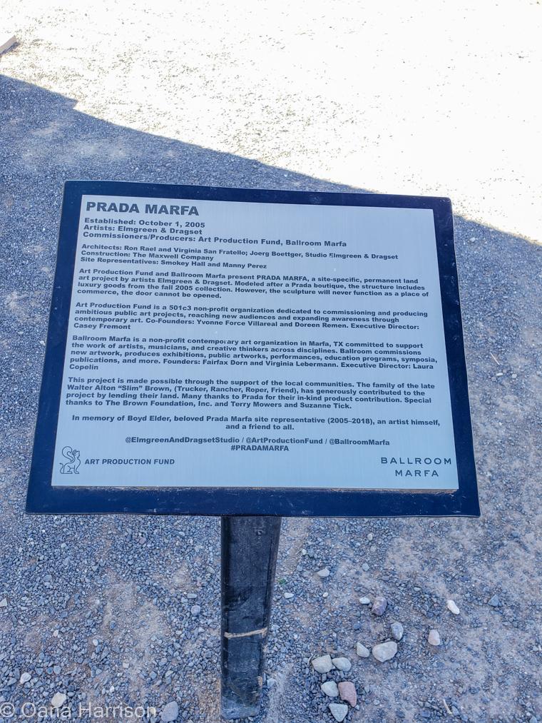 Prada Marfa info sign