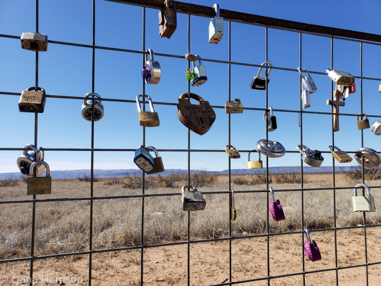 Locks on fence Marfa, TX
