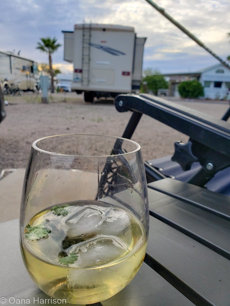 Western Way RV Tucson Arizona chilled white wine