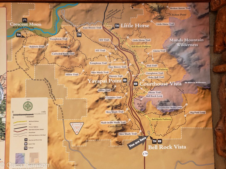 Red Rocks Sedona Arizona, hiking trail map