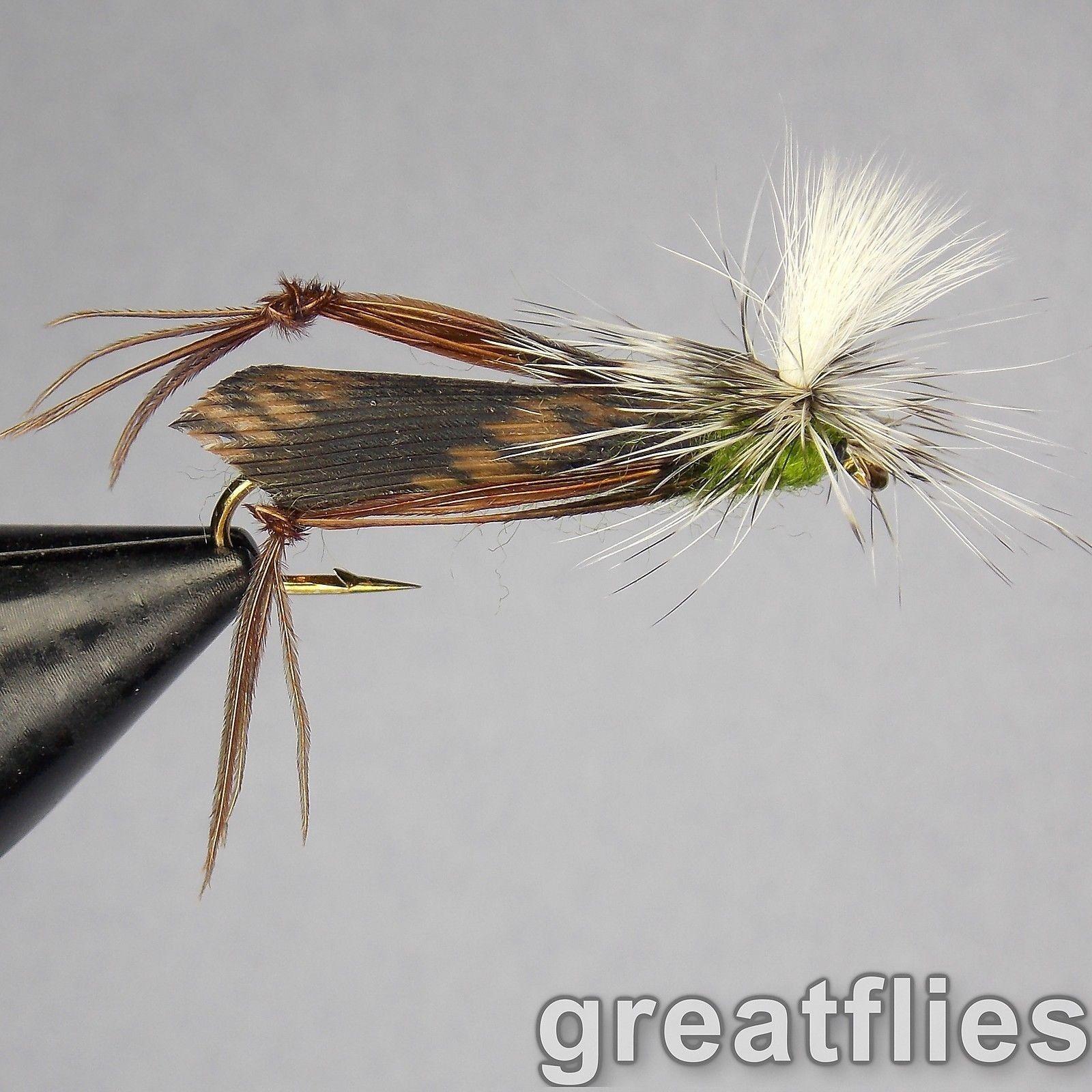 1 dozen Parachute Grasshopper - OLIVE 12 - Para Hopper