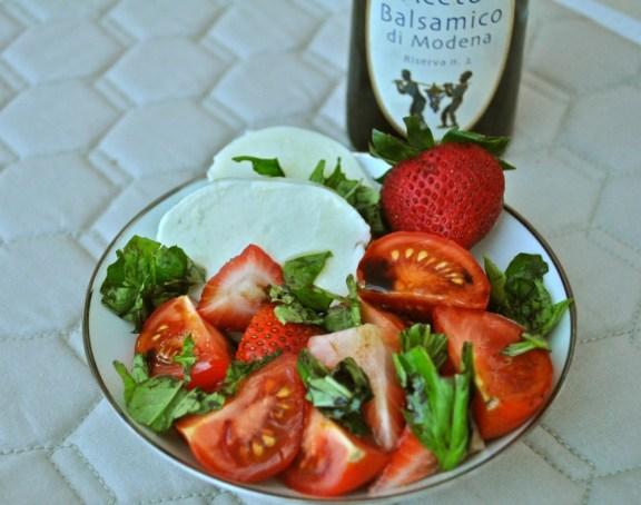 Mozarella, Tomato and Strawberry Salad