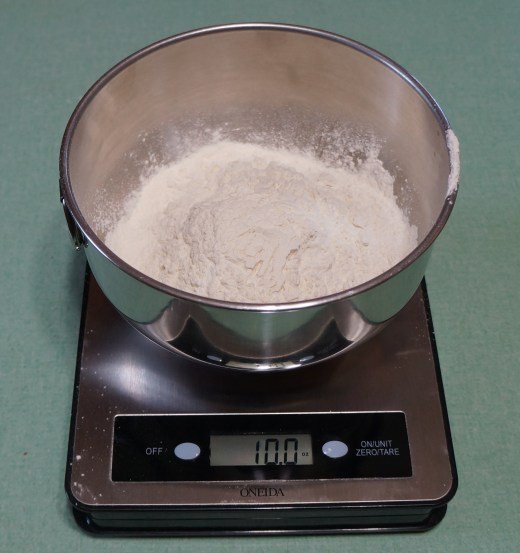Scaled:  10 oz. flour (whisk in 1 tsp. salt + 1 tsp. baking soda)