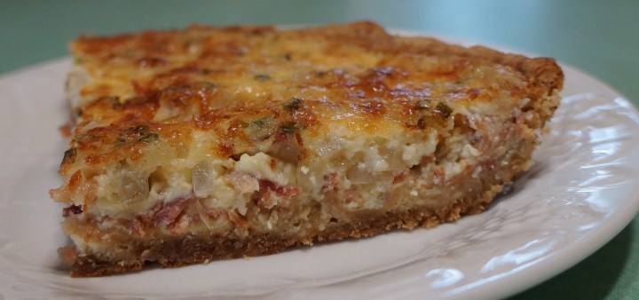 Here's another quiche - 8 oz. cooked bacon + 1 small onion sautéed + 1 cup of smoked Gouda cheese + a little bit of dried chive.