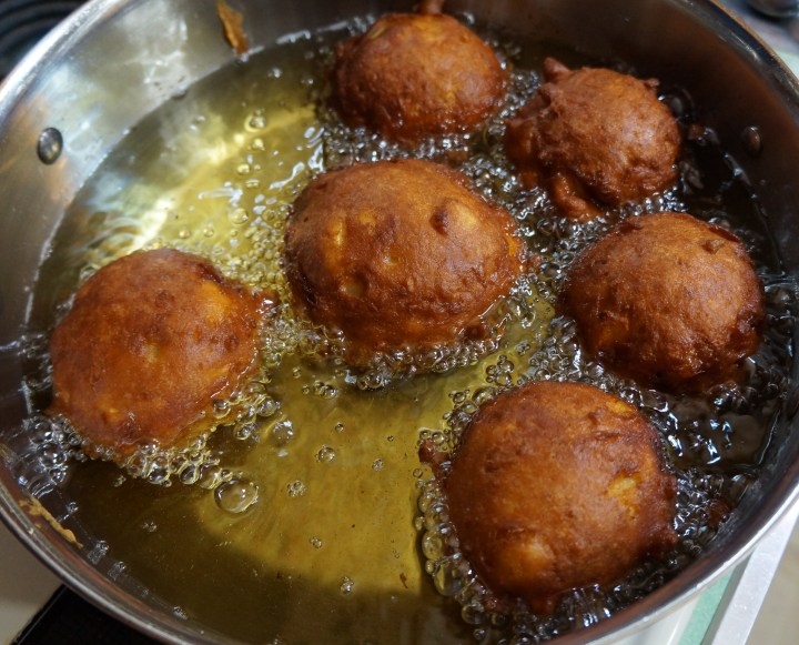 This is what my fully-cooked fritters looked like.  I didn't remove them from the oil until the centers of ALL the fritters registered 200° F on my digital instant read thermometer.