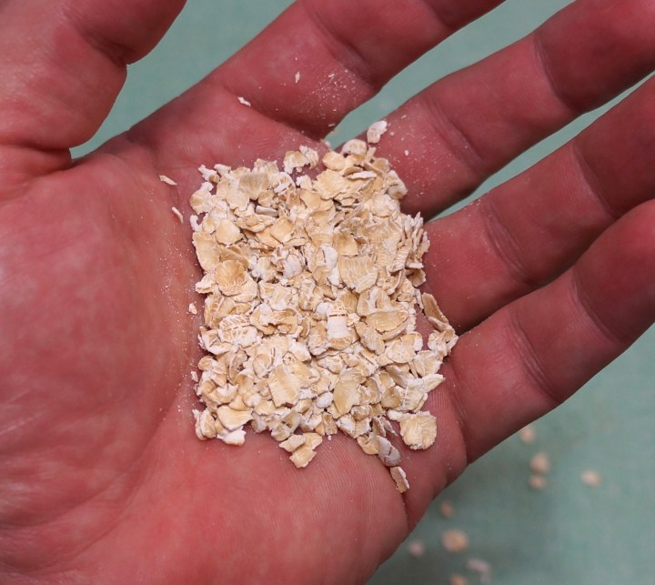 Most people think of these pressed oats when they think of oatmeal - pressing the oats flat allows them to cook more quickly.