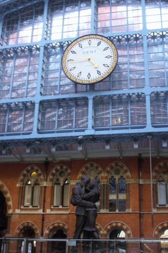 Clock and sculpture at St Pancras Station
