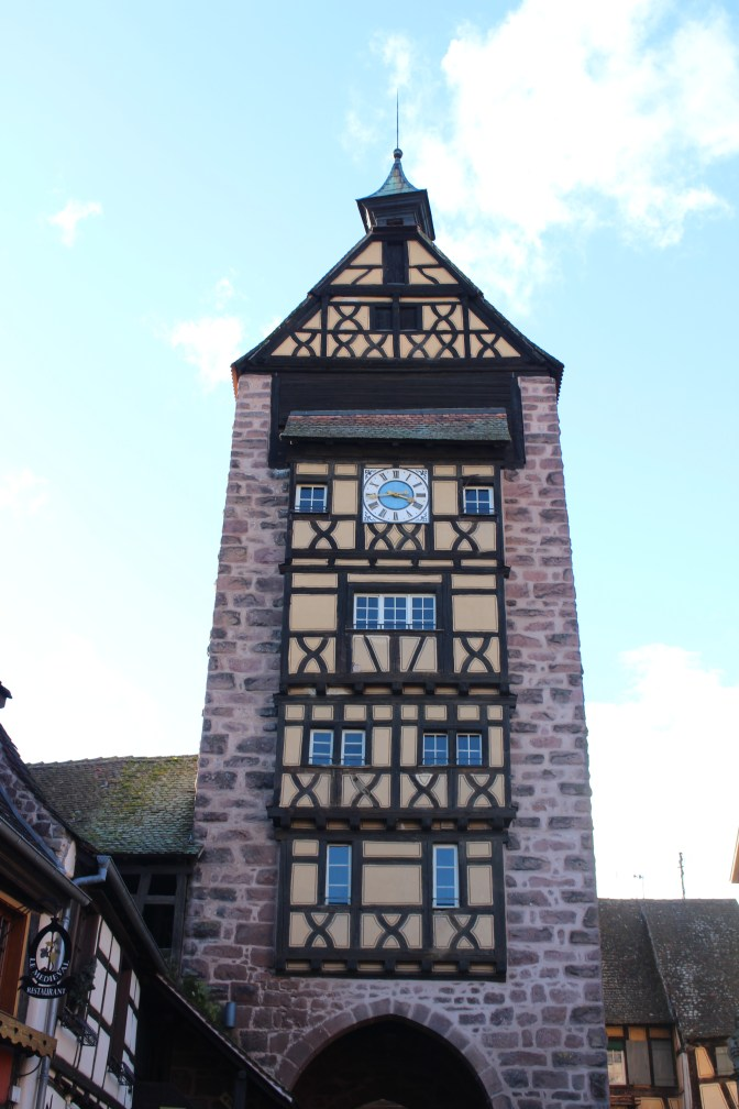 Clock tower in a typical Alsatian style