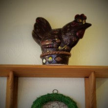 A giant chocolate chicken takes pride of place on the wall