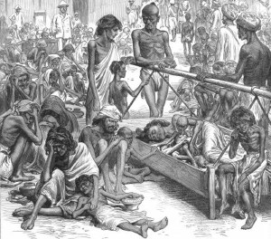 Illustration depicting the Bengal Famine of 1770, where approximately 10 million Indians perished.