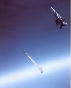 F15A launching ASAT missile at Solwind P78-1 solar laboratory